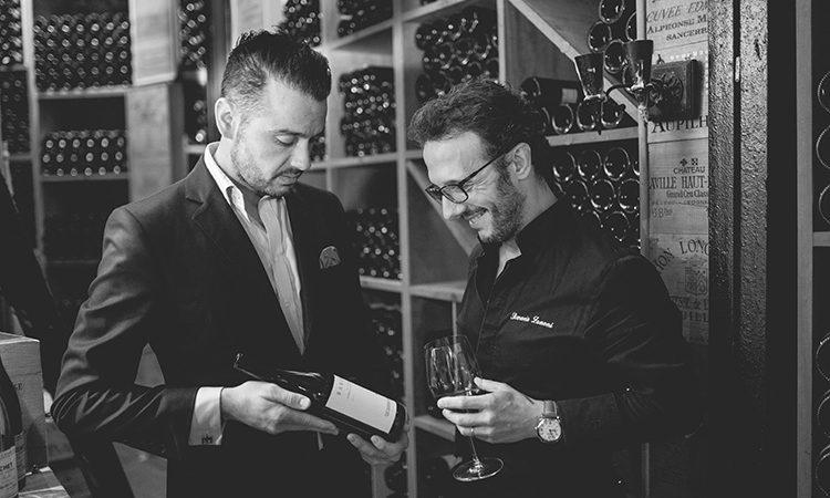 """Sommelier Gabriele Del Carlo, con Simone Zanoni, Chef stellato del """"Le George"""" Parigi"""